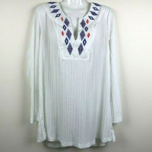 Catalina Womens Cover Up Long Sleeve Embroidered